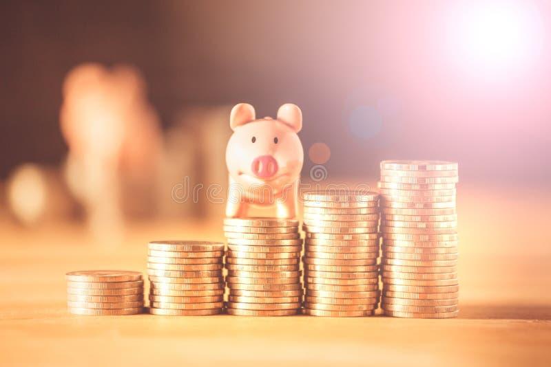 Een spaarvarken op muntstukken voor het concept van het besparingsgeld, investeert voortaan beheer van zaken, het verzekeringslev royalty-vrije stock afbeelding