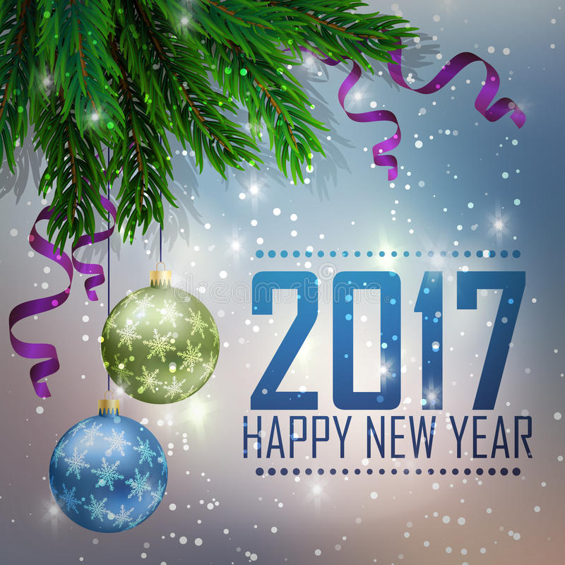 Een sparrentak op het is violet een blauwe achtergrond, met de glanzende sterren Kerstmis en de nieuwe kaart van de jaargroet vector illustratie