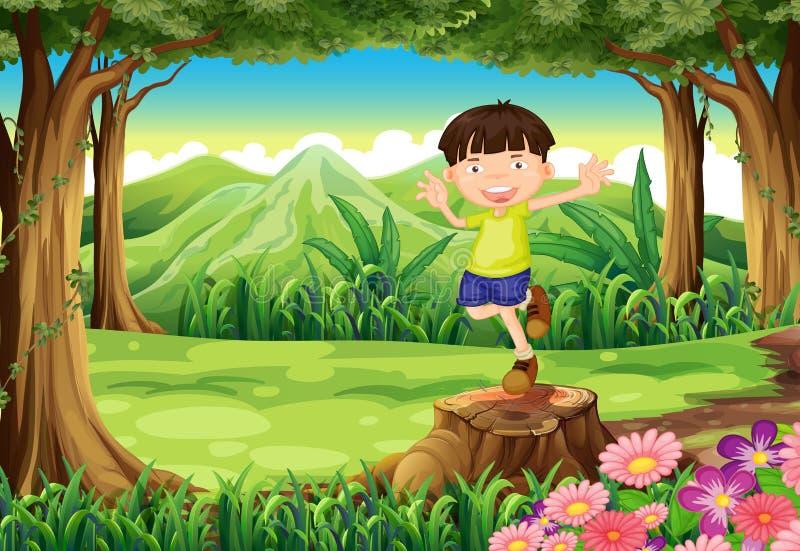 Een speels jong geitje boven de stomp bij het bos vector illustratie