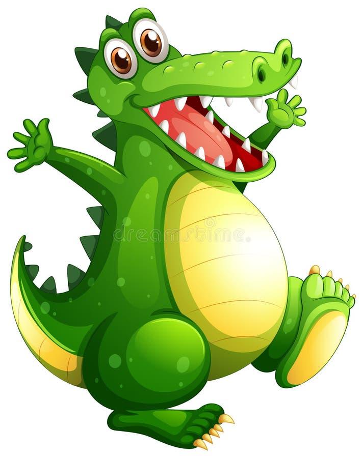 Een speelse groene krokodil royalty-vrije illustratie
