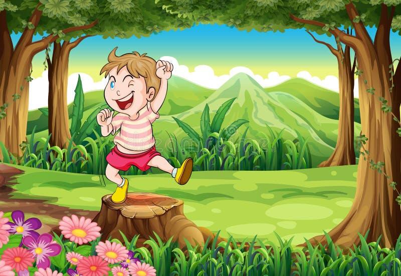 Een speelse jonge jongen bij het bos die zich boven de stomp bevinden royalty-vrije illustratie