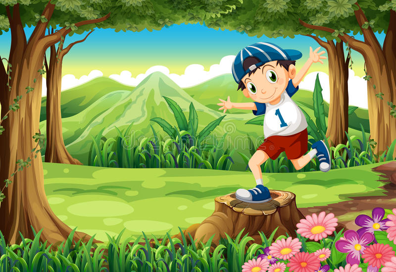 Een speelse jonge mens boven de stomp bij het bos vector illustratie