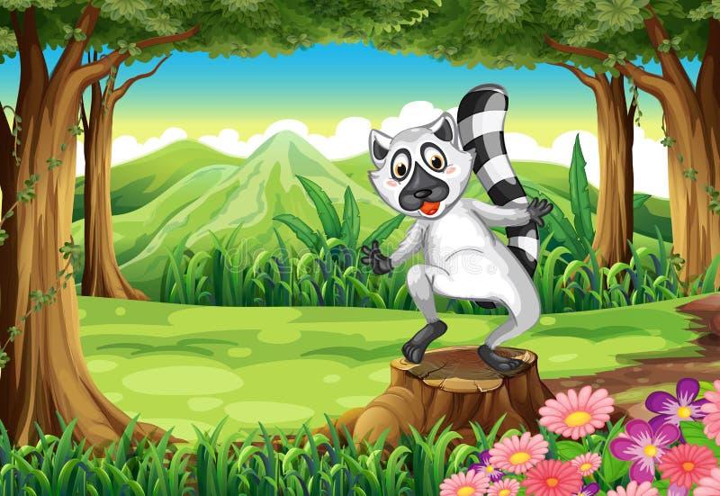 Een speelse maki bij het bos die zich boven de stomp bevinden vector illustratie