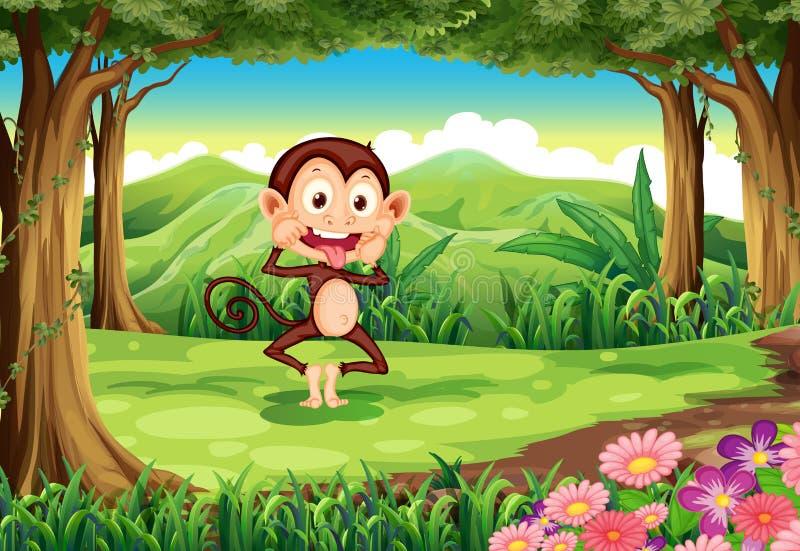 Een speelse wilde aap bij het bos royalty-vrije illustratie