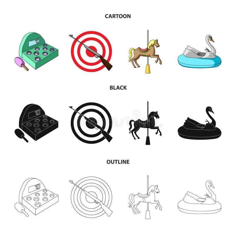 Een spel met een knuppel, een doel met een kanon, een paard op een carrousel, een zwaanaantrekkelijkheid Pictogrammen van de pret stock illustratie