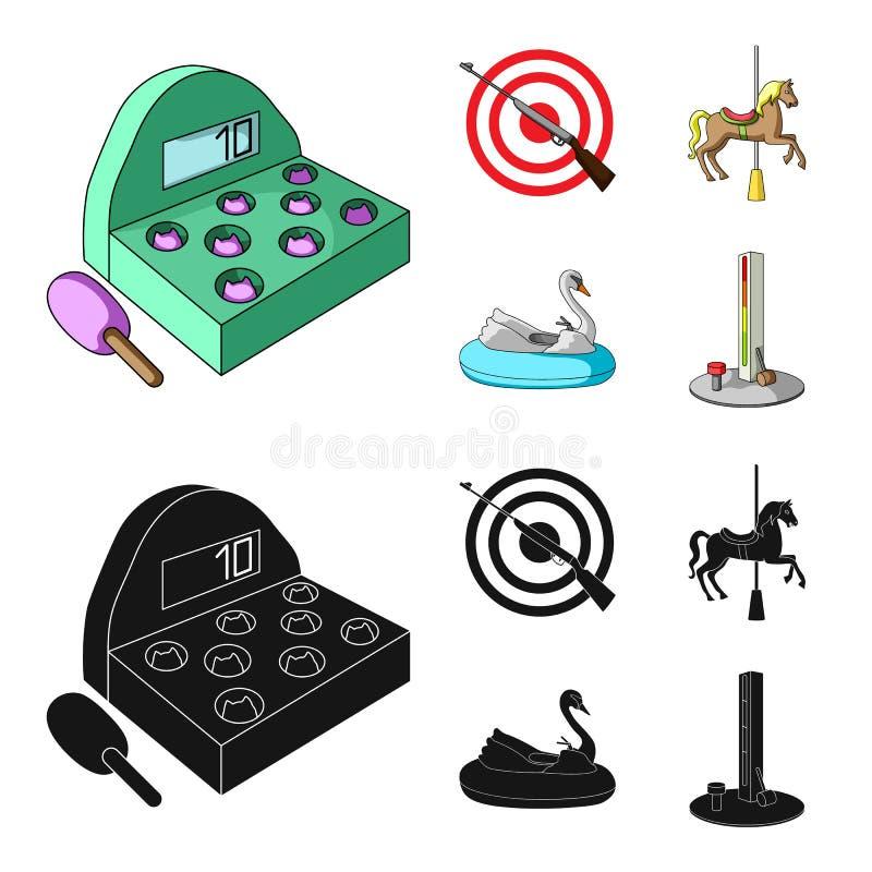 Een spel met een knuppel, een doel met een kanon, een paard op een carrousel, een zwaanaantrekkelijkheid Pictogrammen van de pret vector illustratie