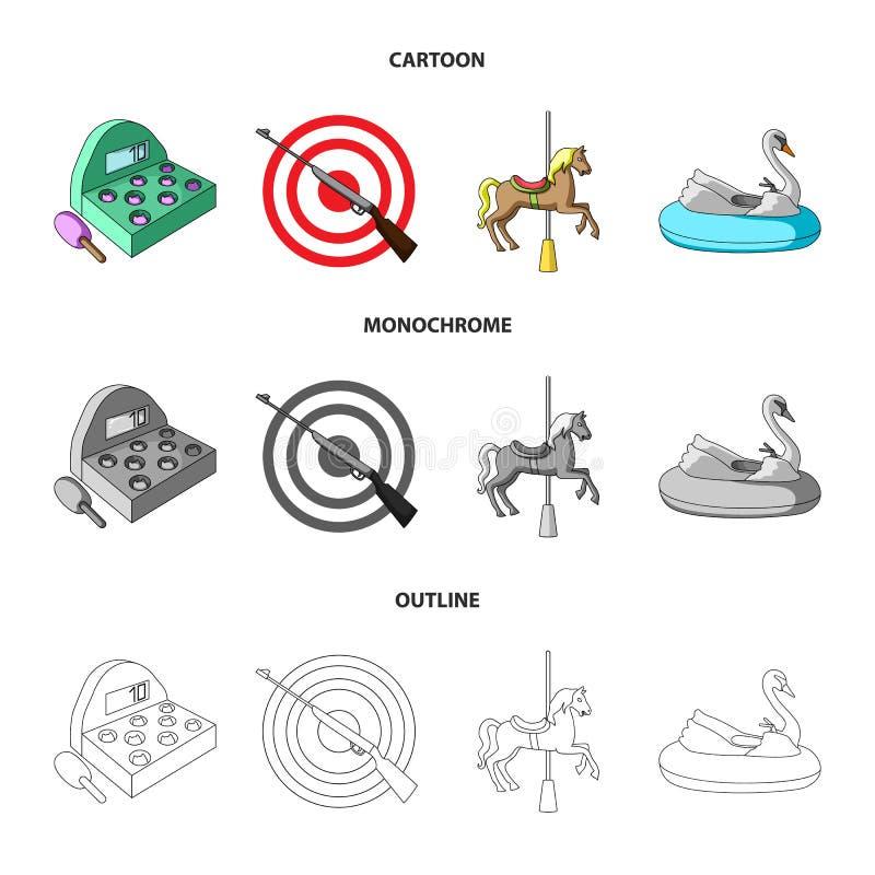 Een spel met een knuppel, een doel met een kanon, een paard op een carrousel, een zwaanaantrekkelijkheid Pictogrammen van de pret royalty-vrije illustratie