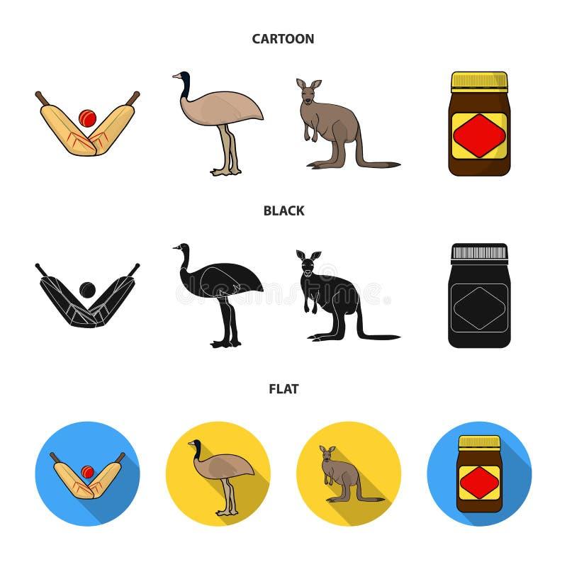 Een spel van veenmol, een emoestruisvogel, een kangoeroe, een populair voedsel Vastgestelde de inzamelingspictogrammen van Austra vector illustratie