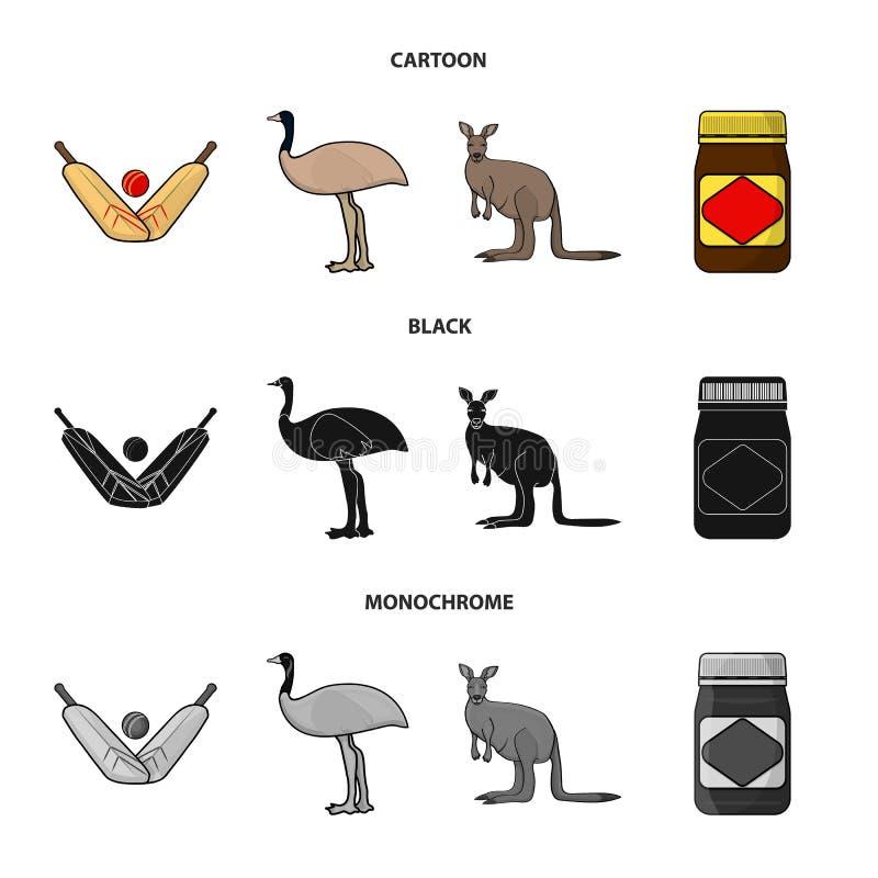 Een spel van veenmol, een emoestruisvogel, een kangoeroe, een populair voedsel Vastgestelde de inzamelingspictogrammen van Austra royalty-vrije illustratie