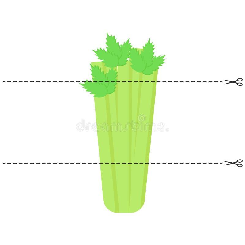 Een spel voor kinderen van peuterleeftijd Snijd het beeld in stukken Vouwen in de juiste orde mozaïek selderie vector illustratie