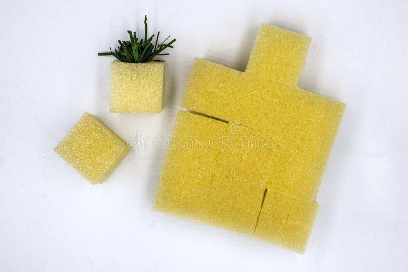 Een spons die in hydrocultuur plantaardige percelen, de kubusspons voorbereidingen treffen worden geplant, isoleerde witte achter royalty-vrije stock fotografie