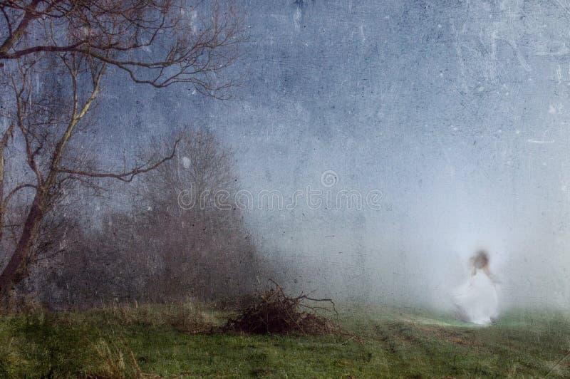 Een spookachtige vrouw in een witte kleding Op de rand van een donker griezelig bos met een oude artistieke wijnoogst geef uit stock foto's