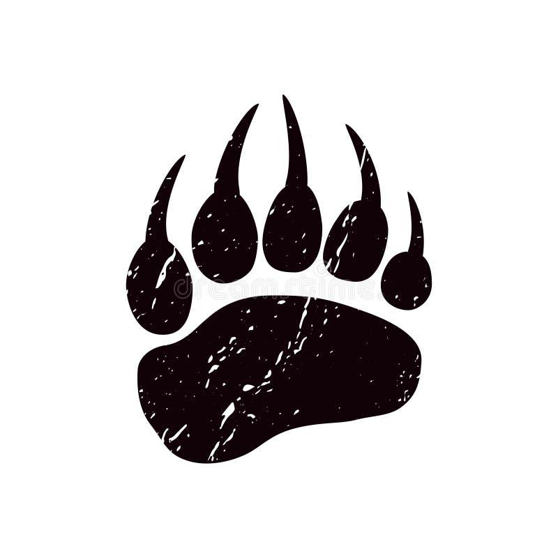 Een spoor een beer Zwart silhouet van poot royalty-vrije illustratie
