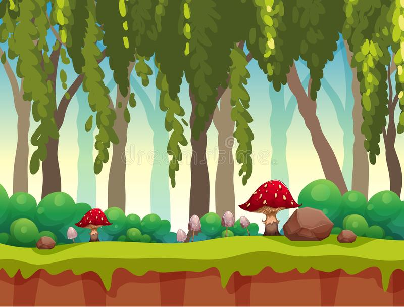 Een Sprookje Forest Landscape stock illustratie