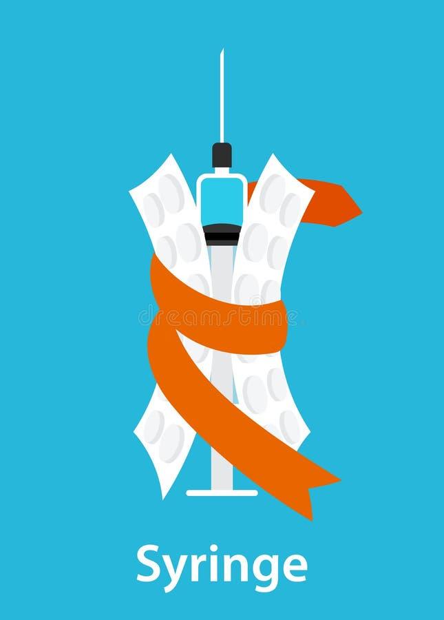 Een spuit en twee die blaren in lint, spuit met blauw vaccin, flesje wordt verpakt geneeskunde vector illustratie