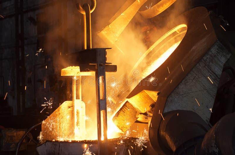 In een staalfabriek stock afbeelding