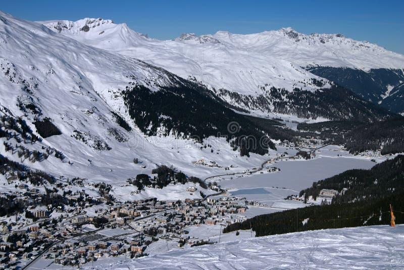 Een stad in de Alpen - Davos 1 royalty-vrije stock foto's