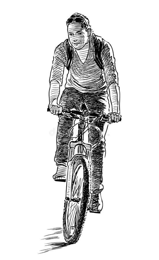 Een stadbewoner berijdt een fiets vector illustratie