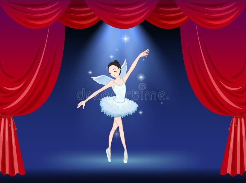 Een stadium met een ballerinadanser vector illustratie
