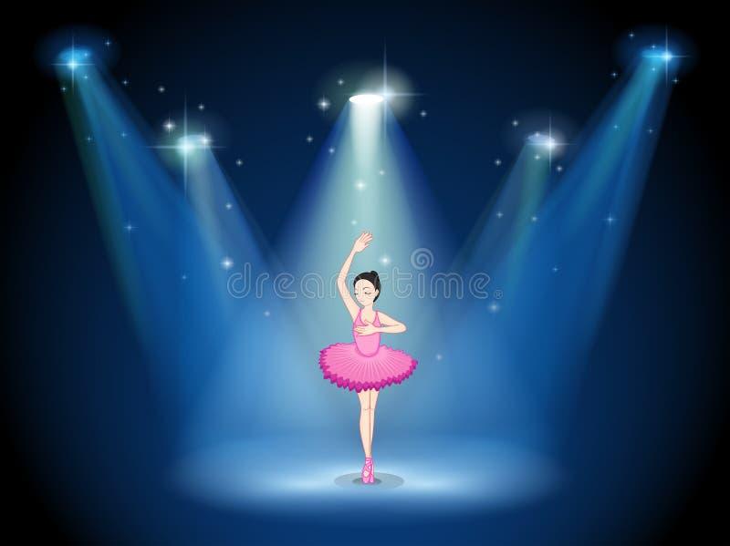 Een stadium met een balletdanser in het midden royalty-vrije illustratie