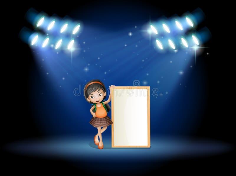 Een stadium met een jong meisje die een leeg uithangbord houden vector illustratie