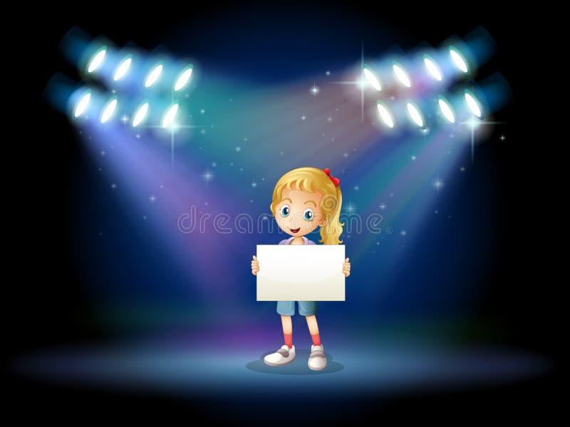 Een stadium met een jong meisje die lege signage houden vector illustratie