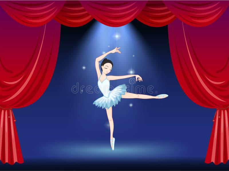 Een stadium met een mooie ballerinadanser vector illustratie