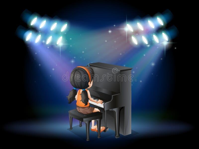 Een stadium met het jonge pianist presteren vector illustratie