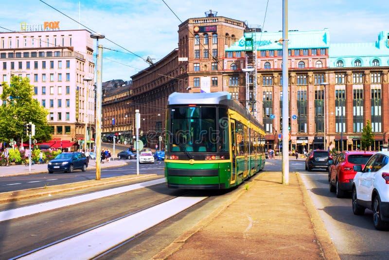 Een stadscentrum in Helsinki, Finland, in het centrale stationgebied royalty-vrije stock foto