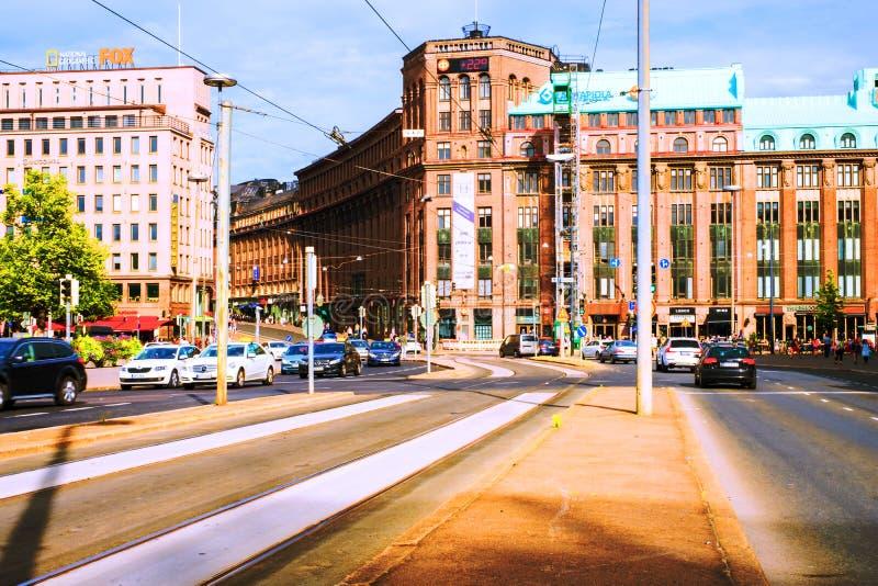 Een stadscentrum in Helsinki, Finland, in het centrale stationgebied royalty-vrije stock afbeelding