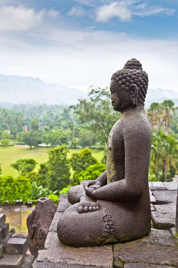 Een standbeeld van Boedha van Borobudur op Java, Indonesië. stock afbeeldingen