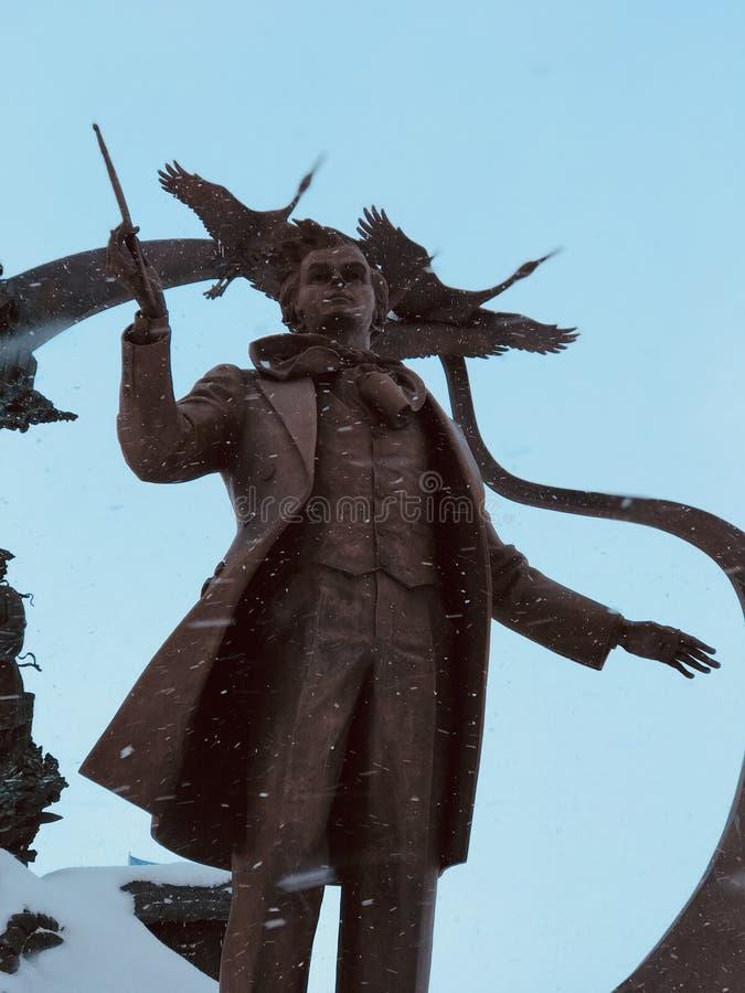Een standbeeld van Taras Shevchenko in Irpin - de OEKRAÏNE stock foto's