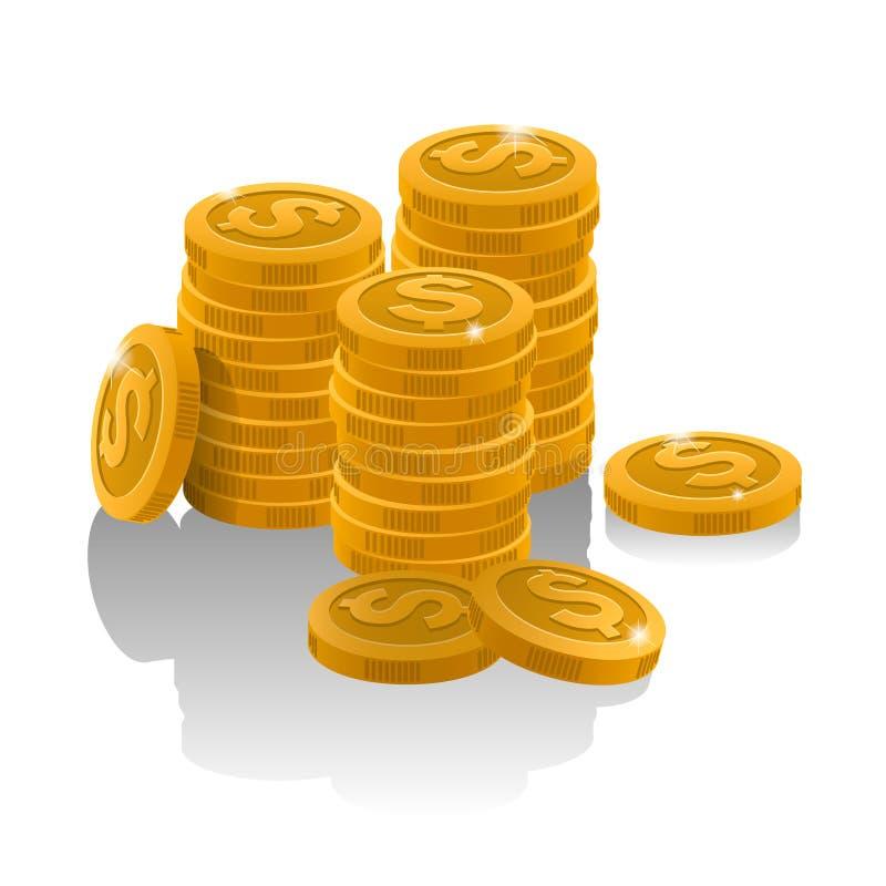 Een stapel gouden muntstukken stock foto