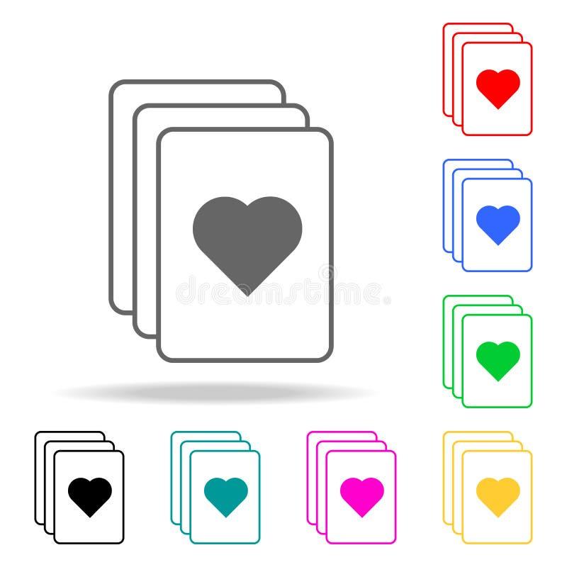 een stapel pictogrammen van spelkaarten Elementen van menselijke Web gekleurde pictogrammen Grafisch het ontwerppictogram van de  royalty-vrije illustratie