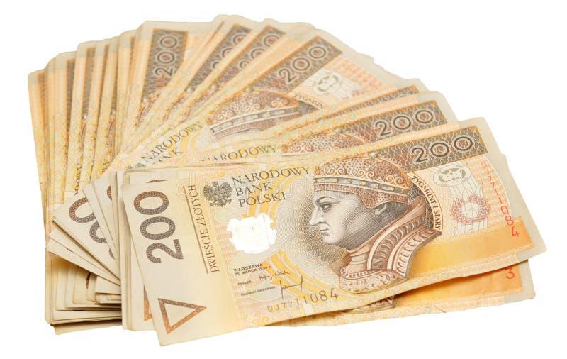 Een stapel Poolse 200 zloty nota's stock afbeelding