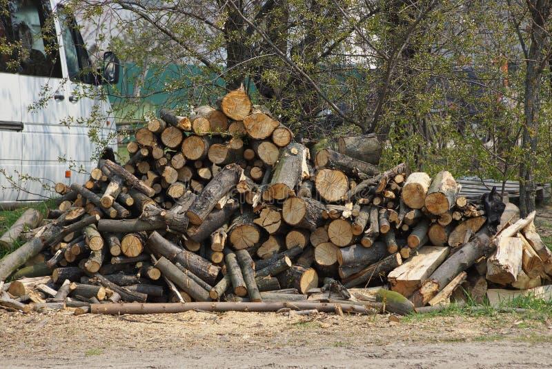 Een stapel van bruin logboeken en brandhout die op de straat op de grond liggen royalty-vrije stock afbeeldingen