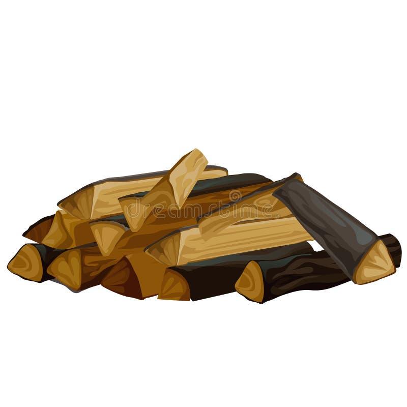 Een stapel van droog die brandhout voor het fornuis op witte achtergrond wordt ge?soleerd Natuurlijke organische brandstof Vector vector illustratie