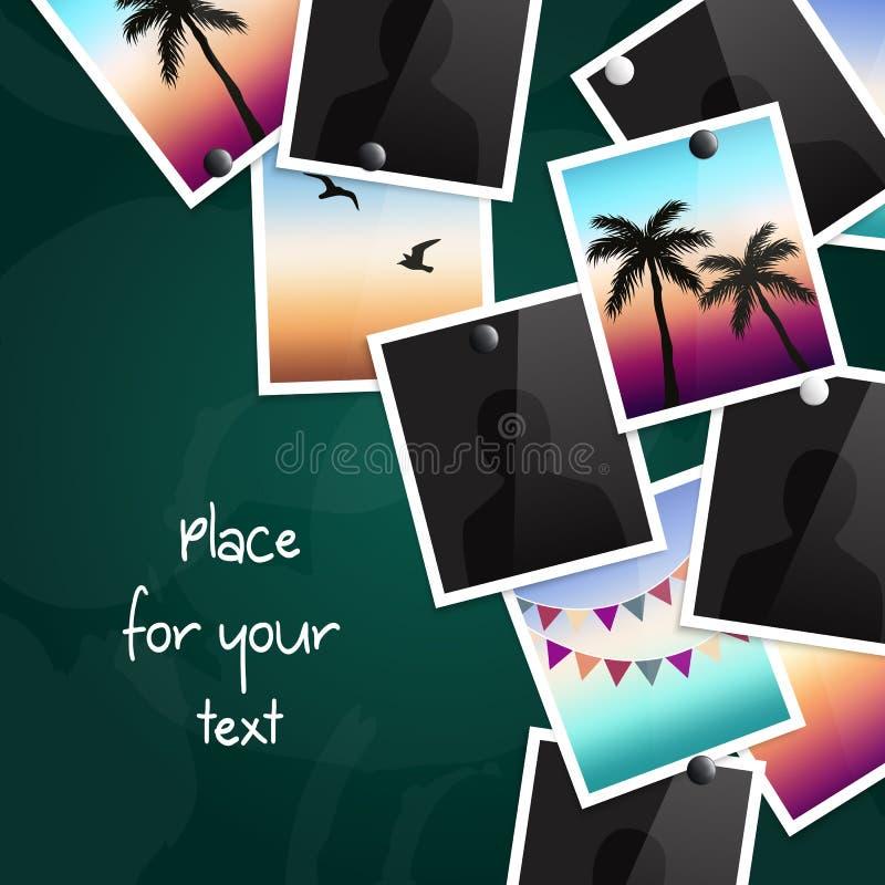 Een stapel van foto's maakte aan een bord met magneten vast Plaats voor uw tekst Vector stock illustratie