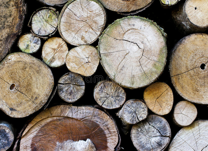 Een stapel van gesneden houten stomp stock foto