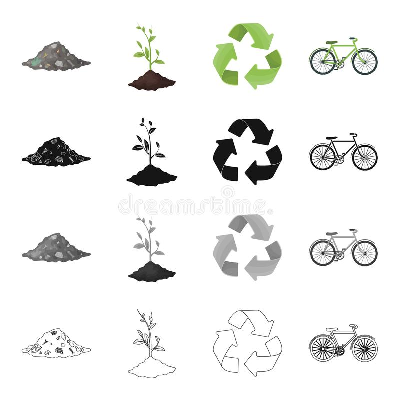 Een stapel van huisvuil, een milieuvriendelijke installatie, een bioteken, een groene pijl, een fiets Pictogrammen van de ecologi stock illustratie