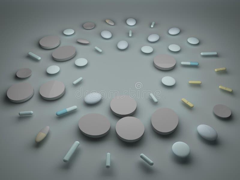 Een stapel van pillen en tabletten stock illustratie