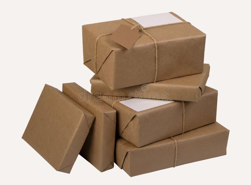 Een stapel van postpakketten stock foto's