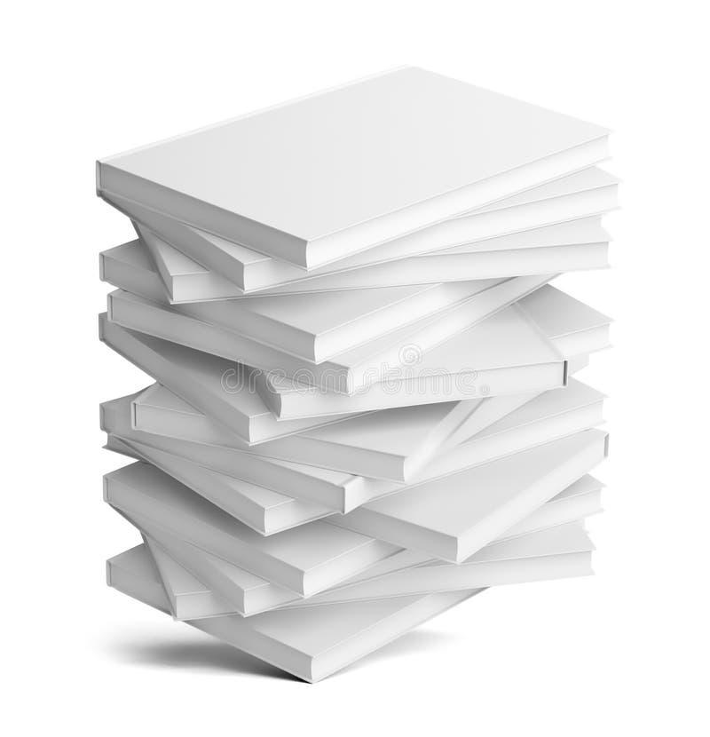 Een stapel witte lege boeken stock illustratie
