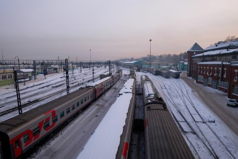 Een Station in Ikutsk-stad in Rusland tijdens de winter stock foto