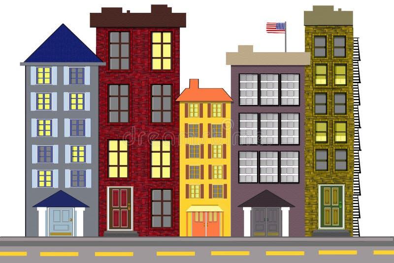 Een stedelijke Amerikaanse Buurt stock illustratie