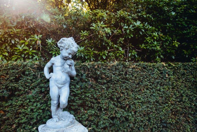 Een steen uitstekend standbeeld van weinig jongen met bloem die zich op groene gebladerteachtergrond bevinden Italiaans buitenont royalty-vrije stock fotografie
