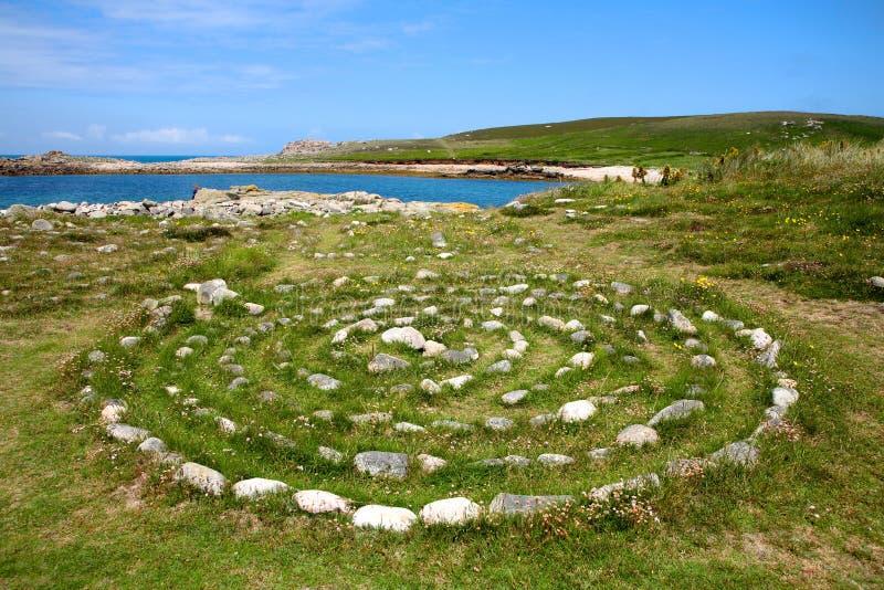 Een steenlabyrint. stock fotografie