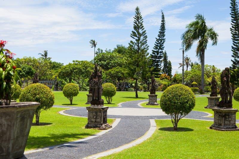 Een steenweg en struiken van diverse vormen in het exotische Park royalty-vrije stock afbeeldingen