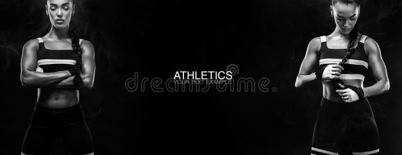 Een sterke atletische, vrouwelijke sprinter, die bij zonsopgang lopen die in het de sportkleding, de fitness en concept van de sp royalty-vrije stock foto's