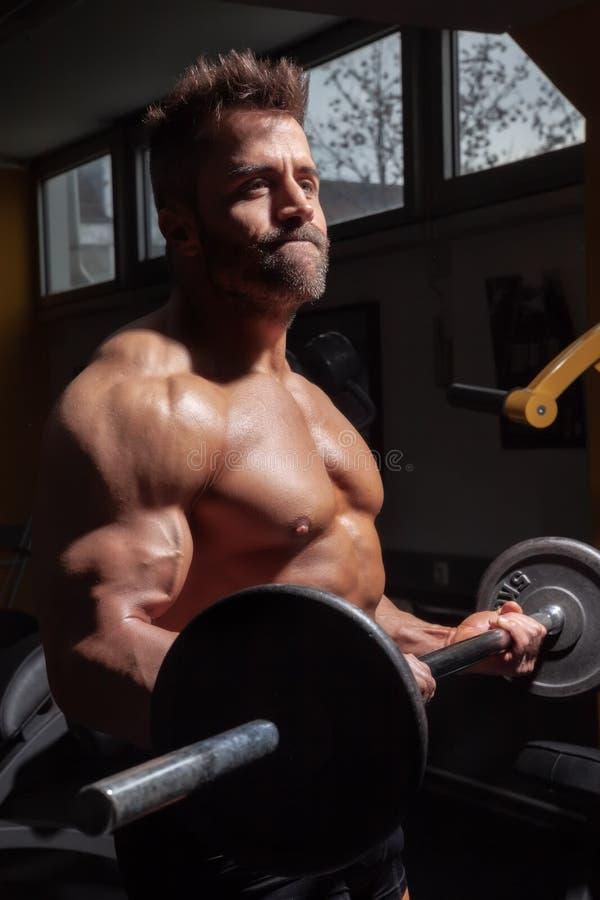 Een sterke mannelijke bodybuilder royalty-vrije stock foto's